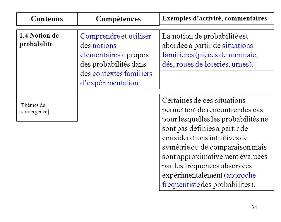 34 Contenus 1.4 Notion de probabilité [Thèmes de convergence] Compétences Comprendre et utiliser des notions élémentaires à propos des probabilités dans des contextes familiers dexpérimentation.