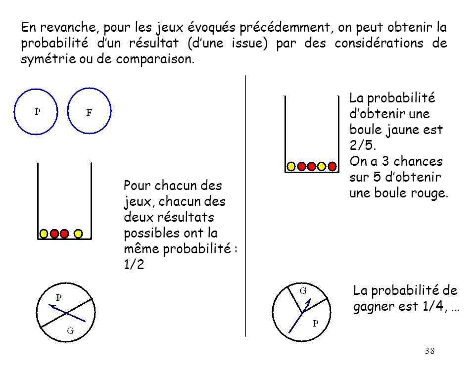 38 En revanche, pour les jeux évoqués précédemment, on peut obtenir la probabilité dun résultat (dune issue) par des considérations de symétrie ou de comparaison.