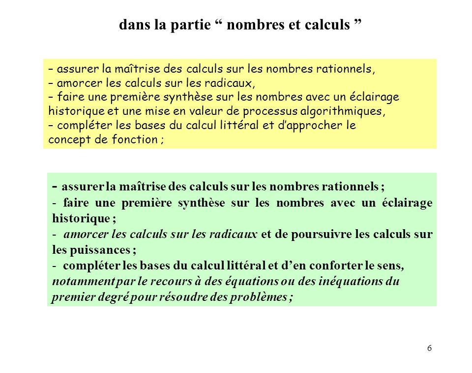 6 – assurer la maîtrise des calculs sur les nombres rationnels, – amorcer les calculs sur les radicaux, – faire une première synthèse sur les nombres avec un éclairage historique et une mise en valeur de processus algorithmiques, – compléter les bases du calcul littéral et dapprocher le concept de fonction ; - assurer la maîtrise des calculs sur les nombres rationnels ; - faire une première synthèse sur les nombres avec un éclairage historique ; - amorcer les calculs sur les radicaux et de poursuivre les calculs sur les puissances ; - compléter les bases du calcul littéral et den conforter le sens, notamment par le recours à des équations ou des inéquations du premier degré pour résoudre des problèmes ; dans la partie nombres et calculs
