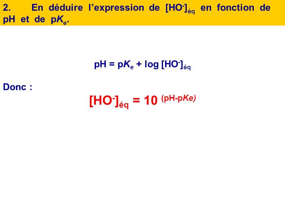 1.Montrer, à partir de lexpression du produit ionique de leau que pH = pK e + log [HO - ] éq. On utilisera la propriété log ( a/b) = log (a ) – log (b