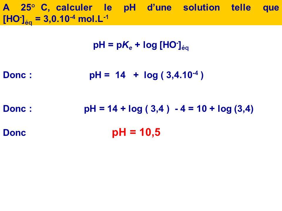 2.En déduire lexpression de [HO - ] éq en fonction de pH et de pK e. pH = pK e + log [HO - ] éq Donc : [HO - ] éq = 10 (pH-pKe)