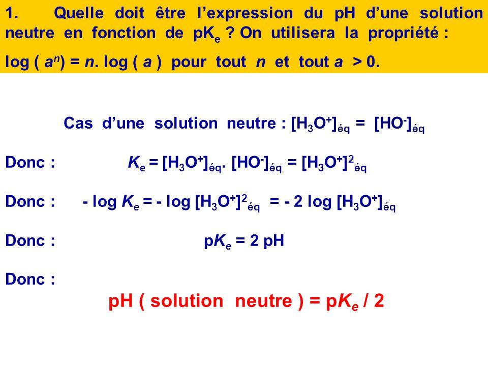 pH ………. pH ……………. solution basique [HO - ] éq > [H 3 O + ] éq solution acide [H 3 O + ] éq > [HO - ] éq solution neutre [H 3 O + ] éq = [HO - ] éq pH