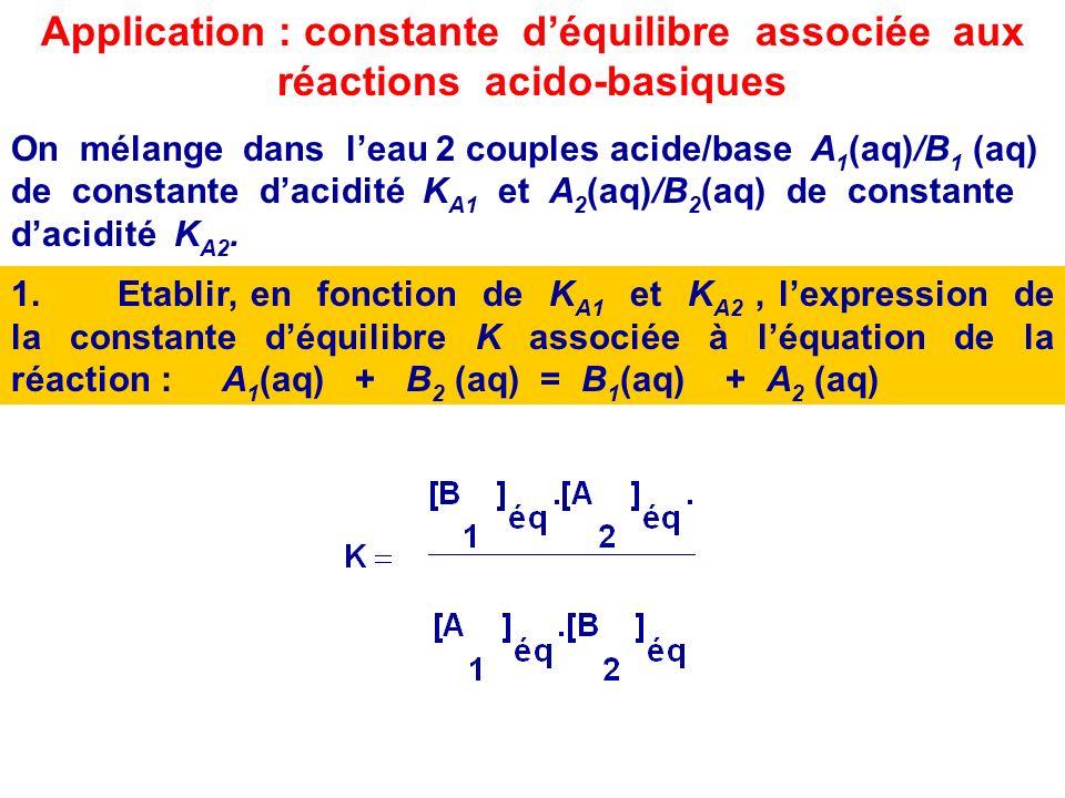 2.Même question pour lautre couple de leau H 2 O(l) / )/ HO - (aq). K A ( H 2 O(l)/ HO - (aq)) = cste déquilibre associé à léquation de la réaction en