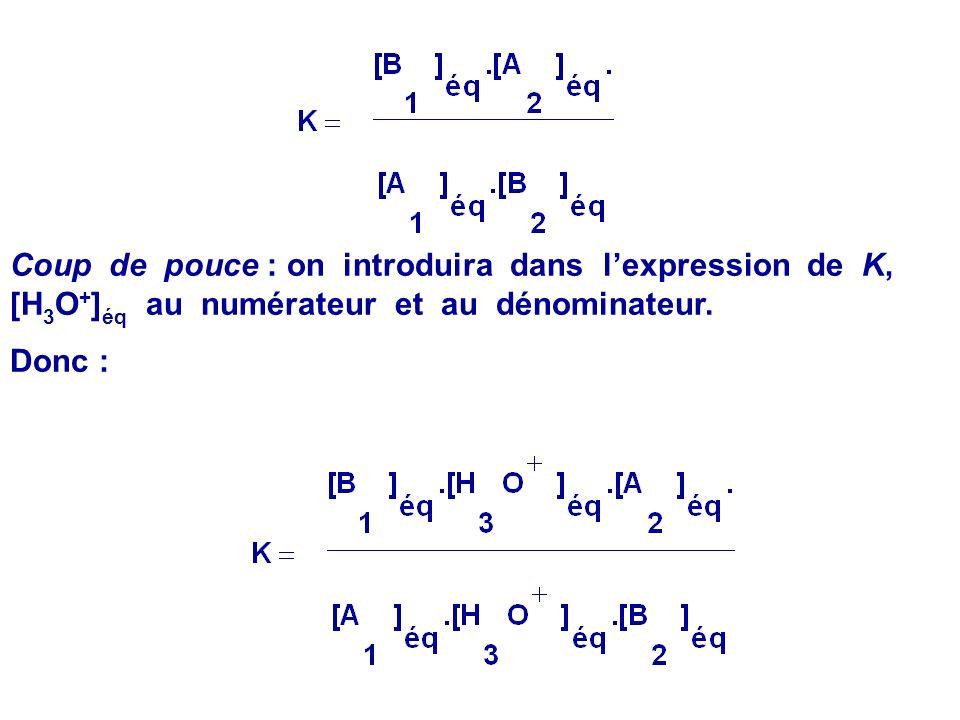 1.Etablir, en fonction de K A1 et K A2, lexpression de la constante déquilibre K associée à léquation de la réaction : A 1 (aq) + B 2 (aq) = B 1 (aq)