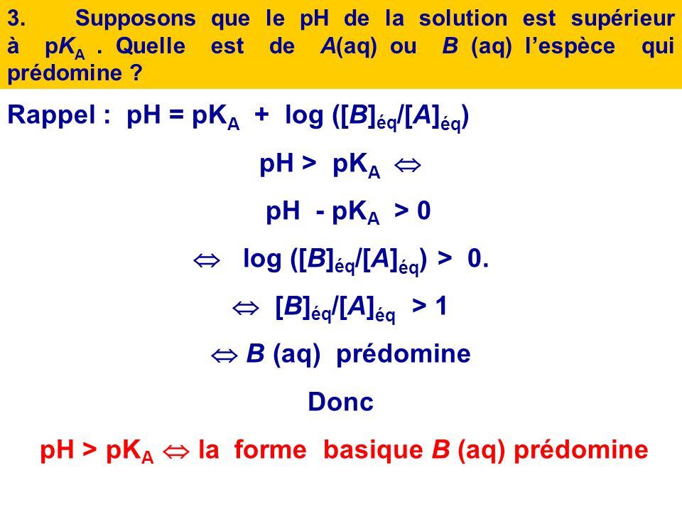 2.Supposons que le pH de la solution est égal à pK A. Quelle est lespèce, A ou B, qui prédomine ? Justifier. Rappel : pH = pK A + log ([B] éq /[A] éq