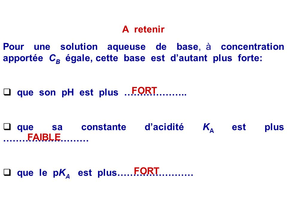 Utilisation du pK A comme critère de comparaison des forces des bases Rappels : K A = B (aq) + H 2 O(l) = BH + (aq) + HO - (aq) A concentration apport