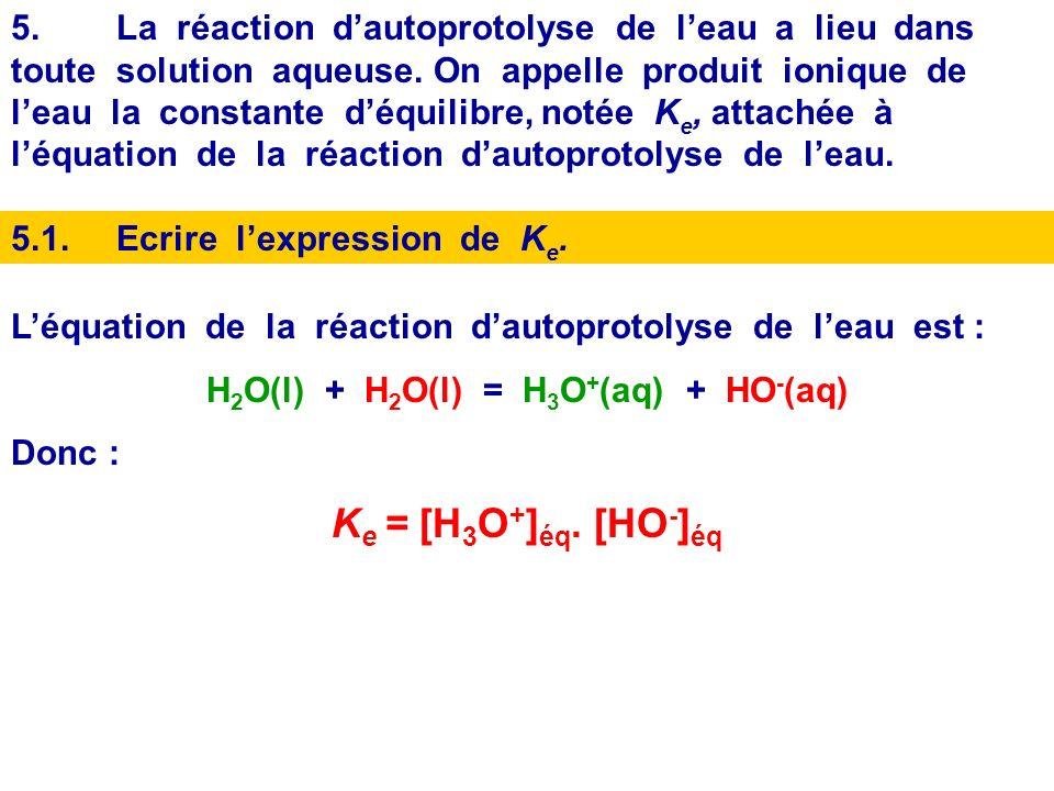 A 25° C, calculer le pH dune solution telle que [HO - ] éq = 3,0.10 -4 mol.L -1 pH = pK e + log [HO - ] éq Donc : pH = 14 + log ( 3,4.10 -4 ) Donc : pH = 14 + log ( 3,4 ) - 4 = 10 + log (3,4) Donc pH = 10,5