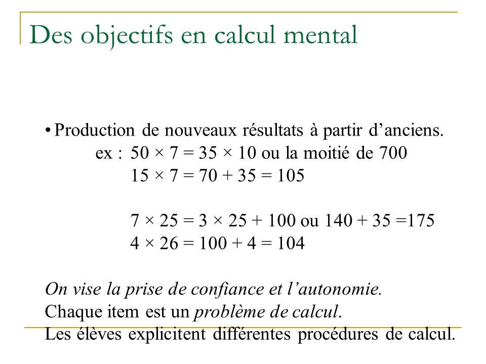Des objectifs en calcul mental Automatisation de certains résultats ou procédures ex : 5 × 7 = 35 4 × 25 = 100 le tiers de 60 On vise la rapidité