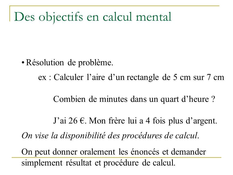 Des objectifs en calcul mental Production de nouveaux résultats à partir danciens.