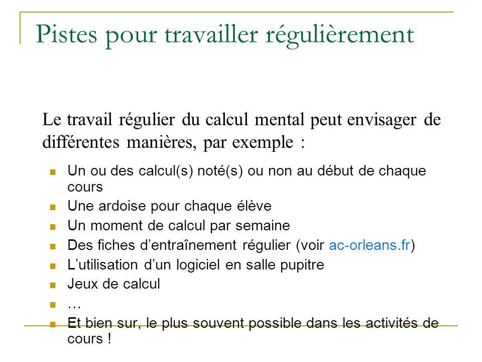 Des objectifs en calcul mental Résolution de problème.