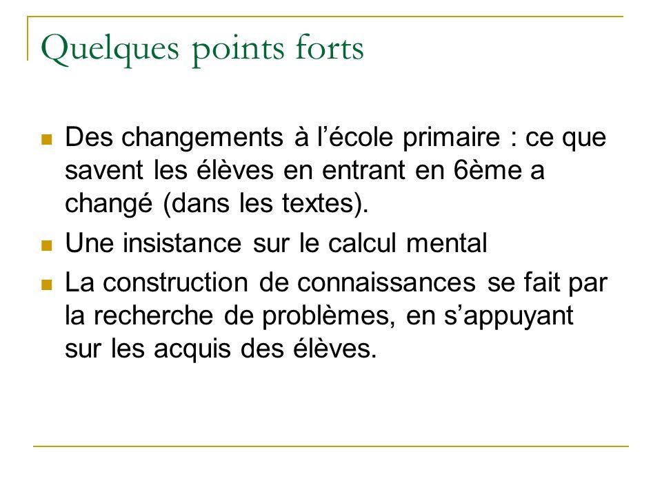 Quelques points forts Des changements à lécole primaire : ce que savent les élèves en entrant en 6ème a changé (dans les textes).
