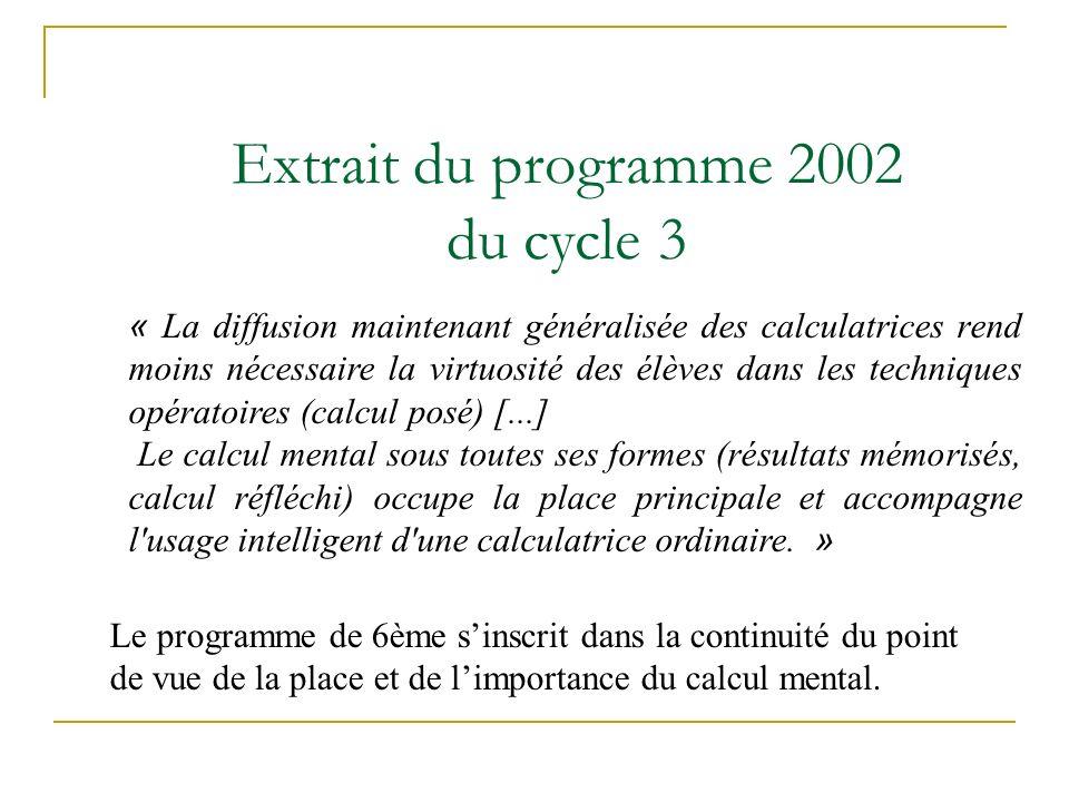 Extrait du programme 2002 du cycle 3 Le programme de 6ème sinscrit dans la continuité du point de vue de la place et de limportance du calcul mental.