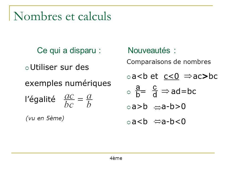 Nombres et calculs Ce qui a disparu :Nouveautés : 4ème (vu en 5ème) Utiliser sur des exemples numériques légalité a>b a-b>0 a<b a-b<0 Comparaisons de nombres a bc = ad=bc