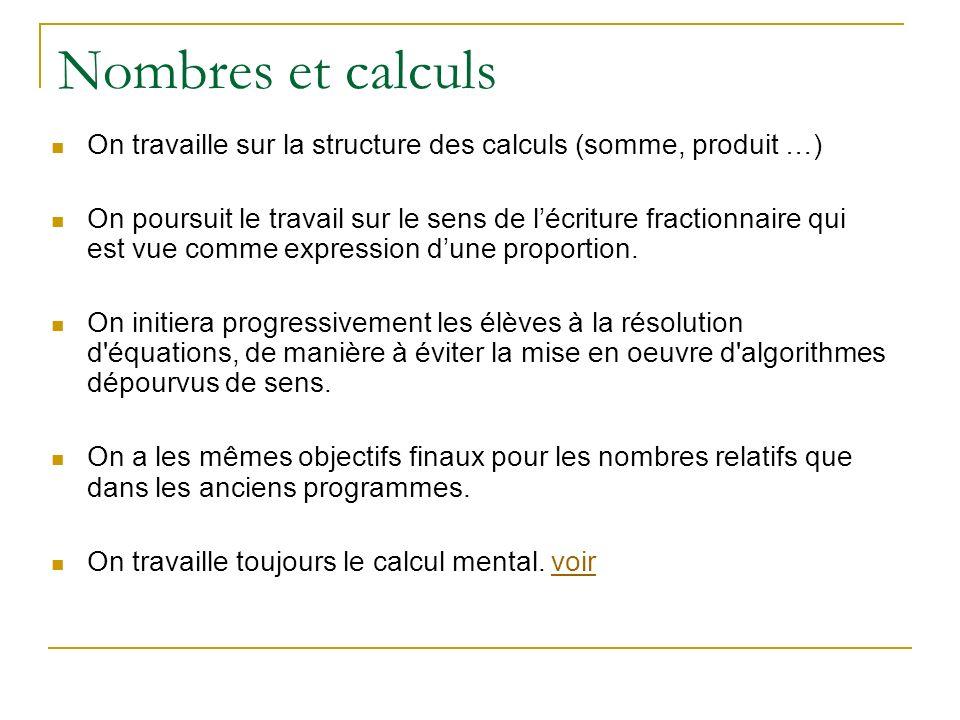 On travaille sur la structure des calculs (somme, produit …) On poursuit le travail sur le sens de lécriture fractionnaire qui est vue comme expression dune proportion.