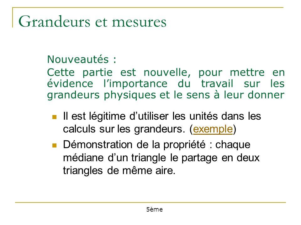 Grandeurs et mesures Nouveautés : Il est légitime dutiliser les unités dans les calculs sur les grandeurs.