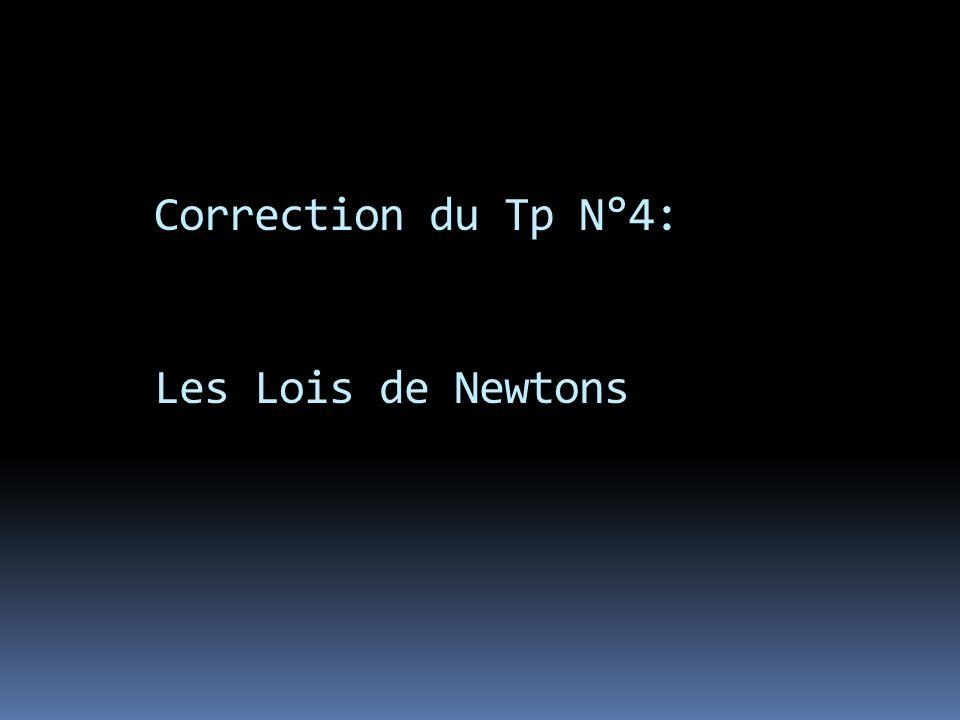 Correction du Tp N°4: Les Lois de Newtons