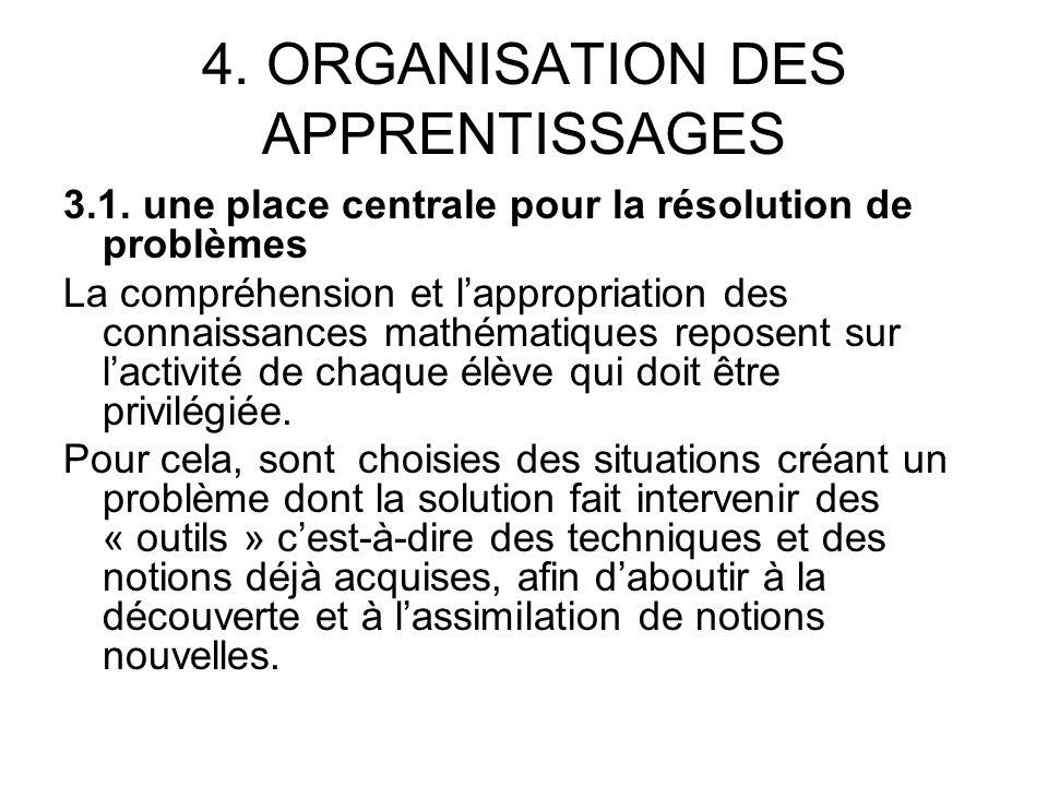 4. ORGANISATION DES APPRENTISSAGES 3.1.