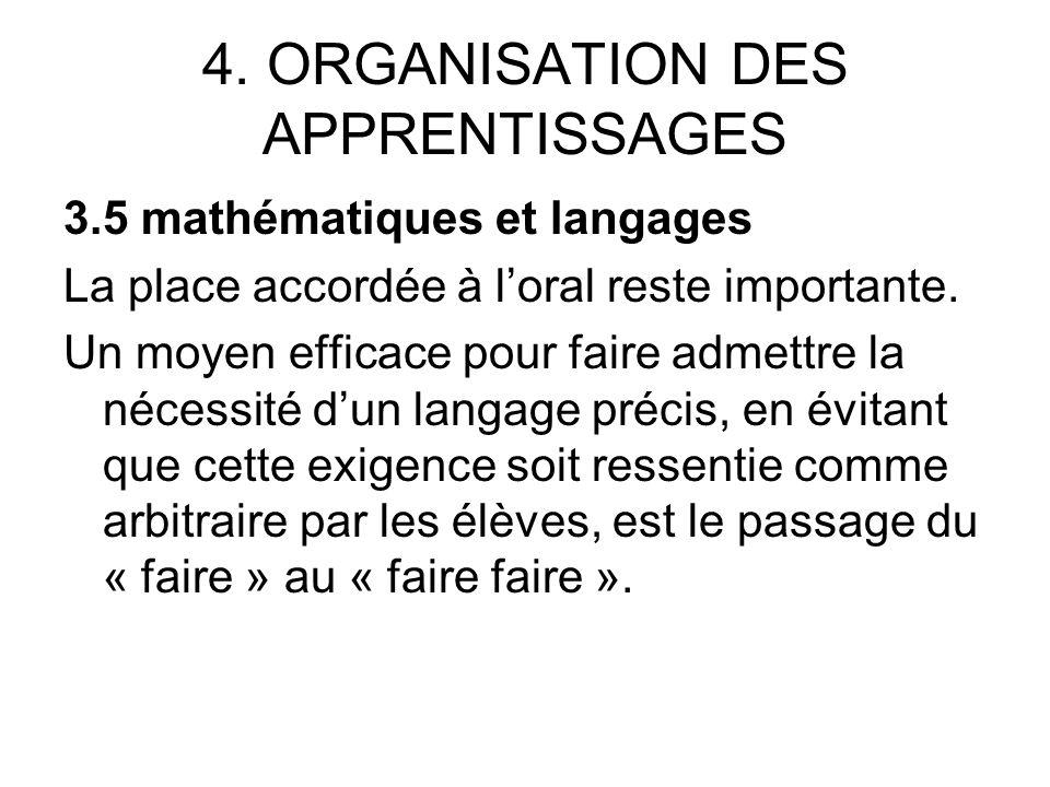 4. ORGANISATION DES APPRENTISSAGES 3.5 mathématiques et langages La place accordée à loral reste importante. Un moyen efficace pour faire admettre la