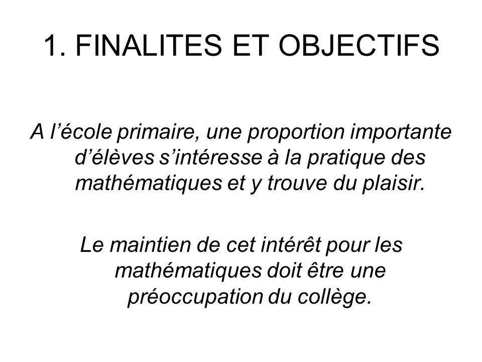 1. FINALITES ET OBJECTIFS A lécole primaire, une proportion importante délèves sintéresse à la pratique des mathématiques et y trouve du plaisir. Le m