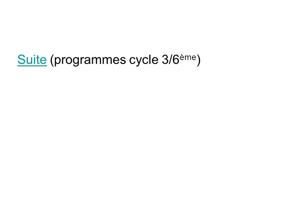 SuiteSuite (programmes cycle 3/6 ème )