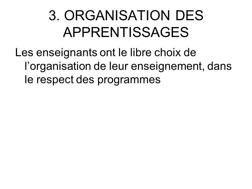 3. ORGANISATION DES APPRENTISSAGES Les enseignants ont le libre choix de lorganisation de leur enseignement, dans le respect des programmes