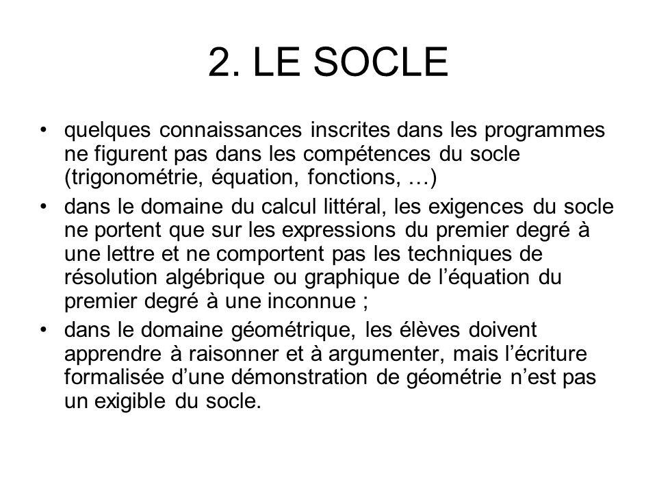2. LE SOCLE quelques connaissances inscrites dans les programmes ne figurent pas dans les compétences du socle (trigonométrie, équation, fonctions, …)