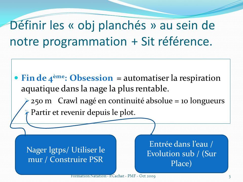 Définir les « obj planchés » au sein de notre programmation + Sit référence. Fin de 4 ème : Obsession = automatiser la respiration aquatique dans la n