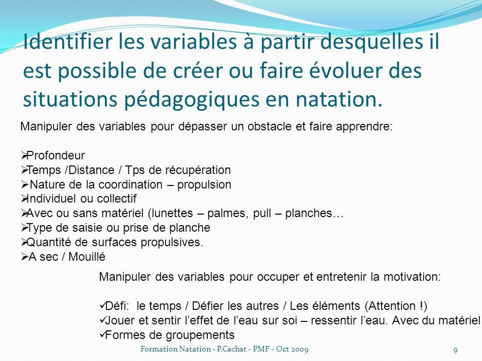 Identifier les variables à partir desquelles il est possible de créer ou faire évoluer des situations pédagogiques en natation. Manipuler des variable