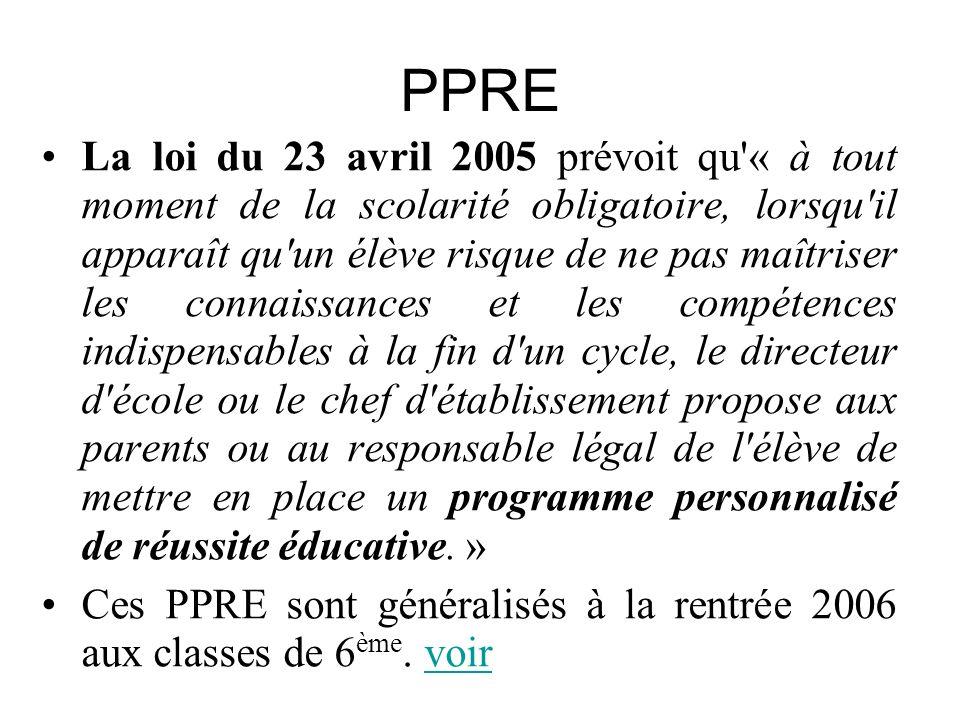 PPRE La loi du 23 avril 2005 prévoit qu'« à tout moment de la scolarité obligatoire, lorsqu'il apparaît qu'un élève risque de ne pas maîtriser les con