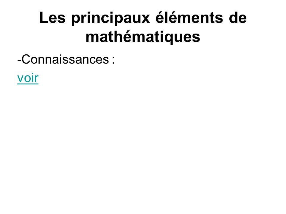 Les principaux éléments de mathématiques -Connaissances : voir