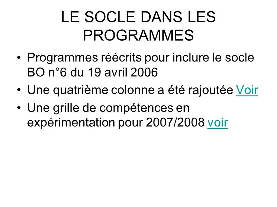 LE SOCLE DANS LES PROGRAMMES Programmes réécrits pour inclure le socle BO n°6 du 19 avril 2006 Une quatrième colonne a été rajoutée VoirVoir Une grill