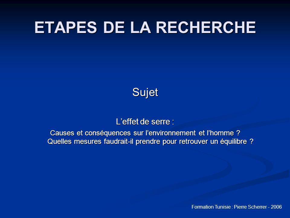 Formation Tunisie : Pierre Scherrer - 2006 Etape 2 : chercher avec BCDI Recherche par thésaurus Recherche par thésaurus