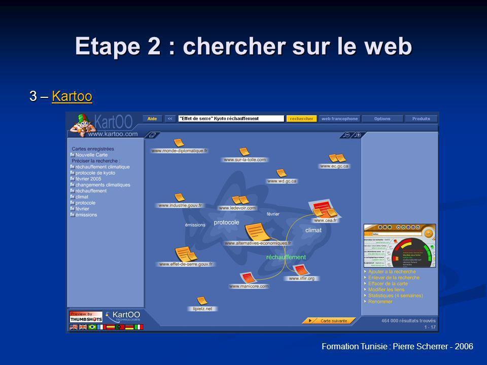 Formation Tunisie : Pierre Scherrer - 2006 Etape 2 : chercher sur le web 3 – Kartoo Kartoo