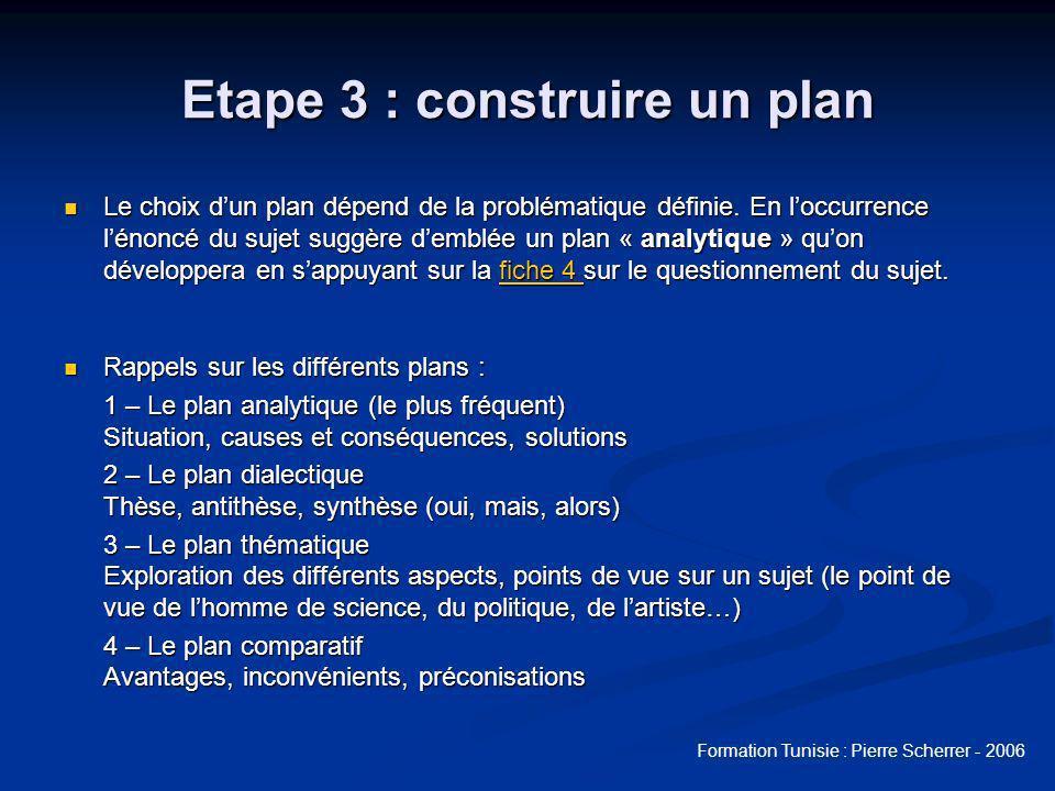 Formation Tunisie : Pierre Scherrer - 2006 Etape 3 : construire un plan Le choix dun plan dépend de la problématique définie.