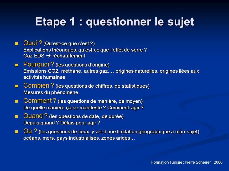 Formation Tunisie : Pierre Scherrer - 2006 Etape 1 : remue-méninges Activer les connaissances des élèves sur le sujet.