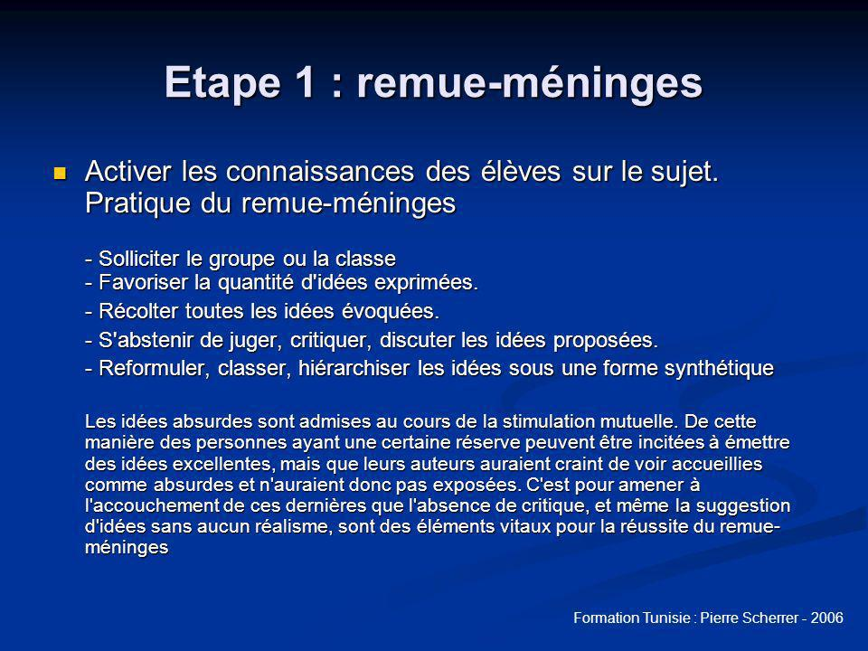 Formation Tunisie : Pierre Scherrer - 2006 Etape 1 : lister les mots clés Lister les termes repérés précédemment.
