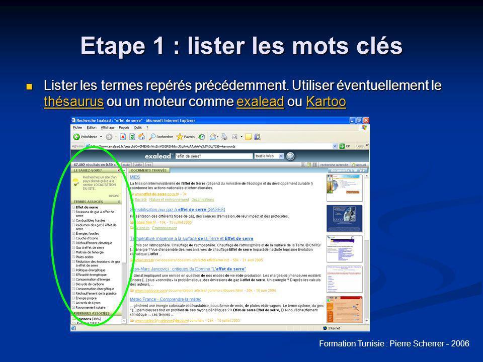 Formation Tunisie : Pierre Scherrer - 2006 Etape 1 : lister les mots clés