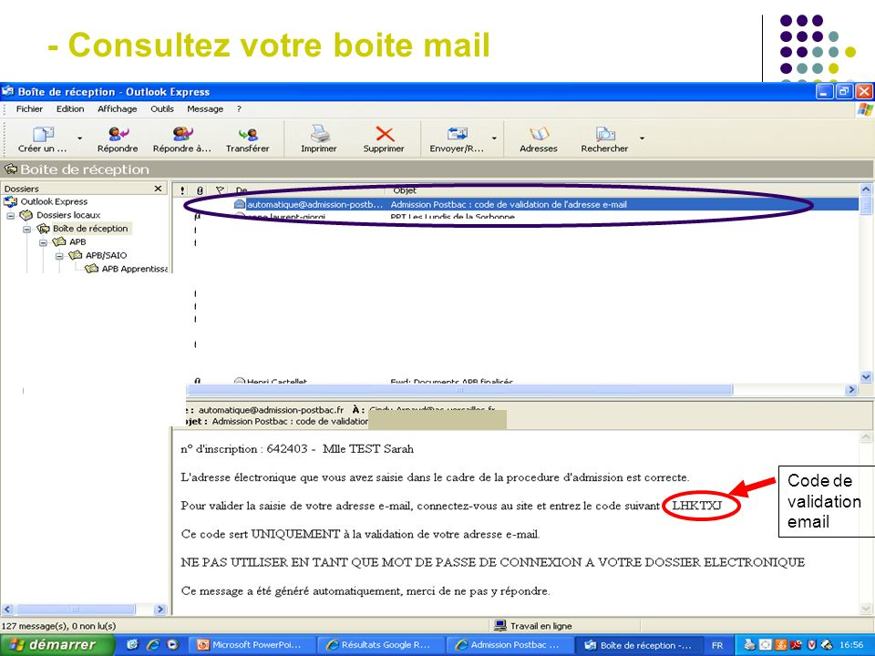 - Entrez votre code de validation reçu par mail En cas de difficulté, cliquez sur « renvoyer » 1 2