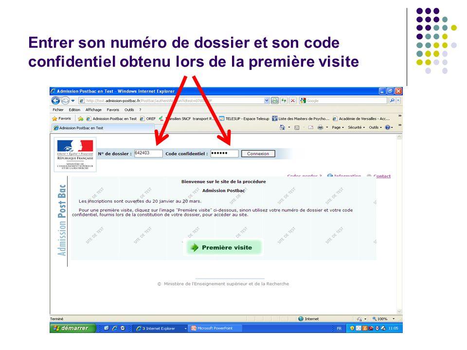 Entrer son numéro de dossier et son code confidentiel obtenu lors de la première visite
