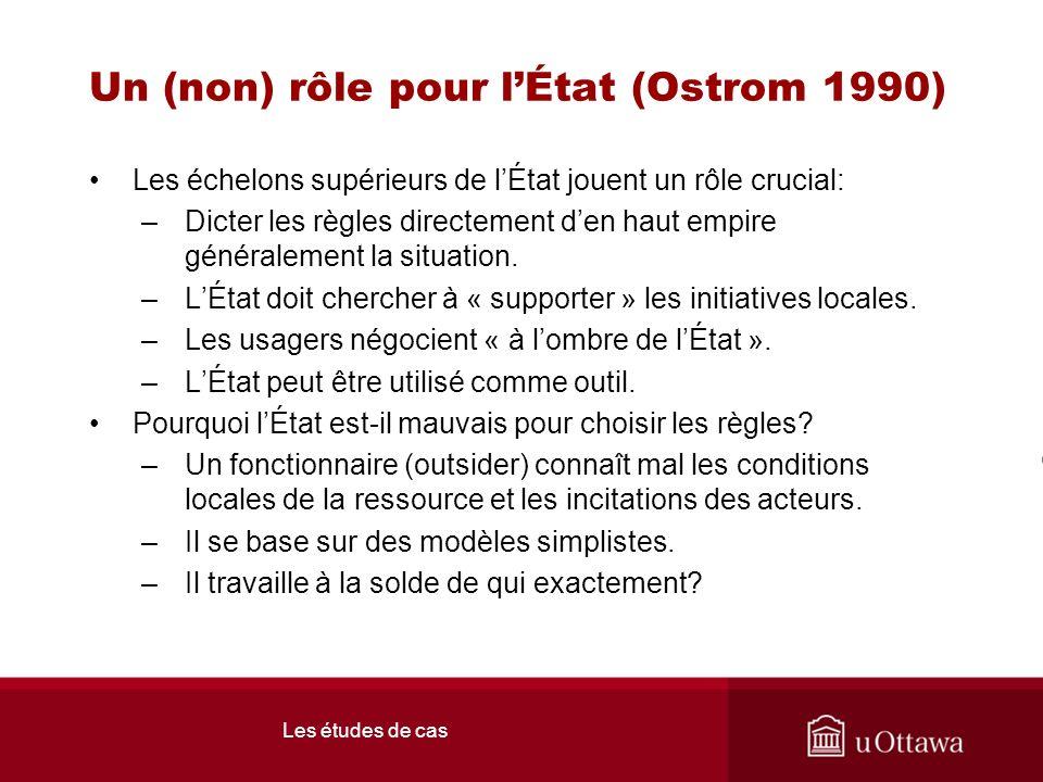 Les études de cas Un (non) rôle pour lÉtat (Ostrom 1990) Les échelons supérieurs de lÉtat jouent un rôle crucial: –Dicter les règles directement den haut empire généralement la situation.