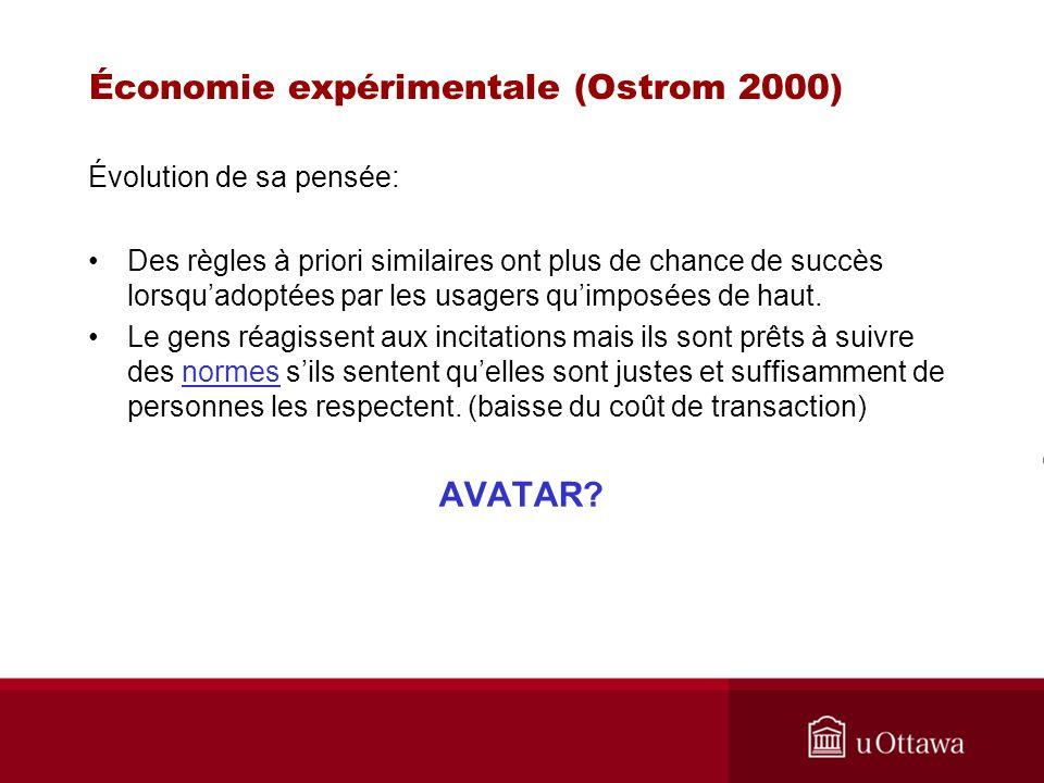 Économie expérimentale (Ostrom 2000) Évolution de sa pensée: Des règles à priori similaires ont plus de chance de succès lorsquadoptées par les usagers quimposées de haut.