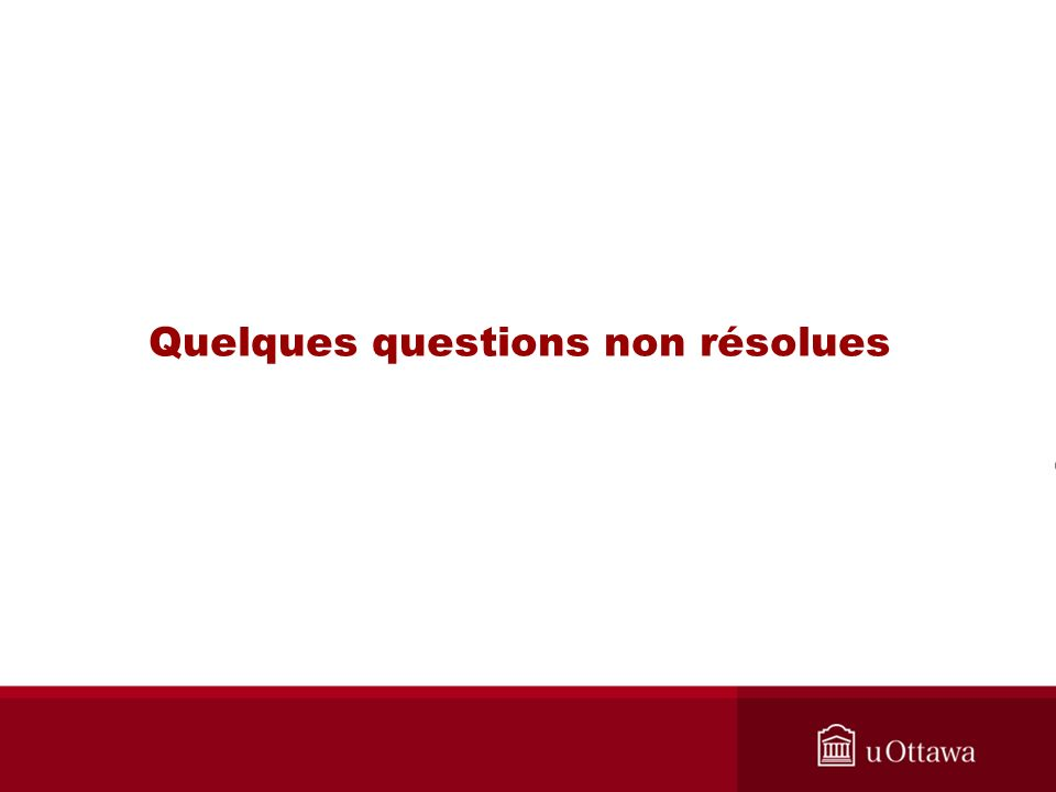 Quelques questions non résolues