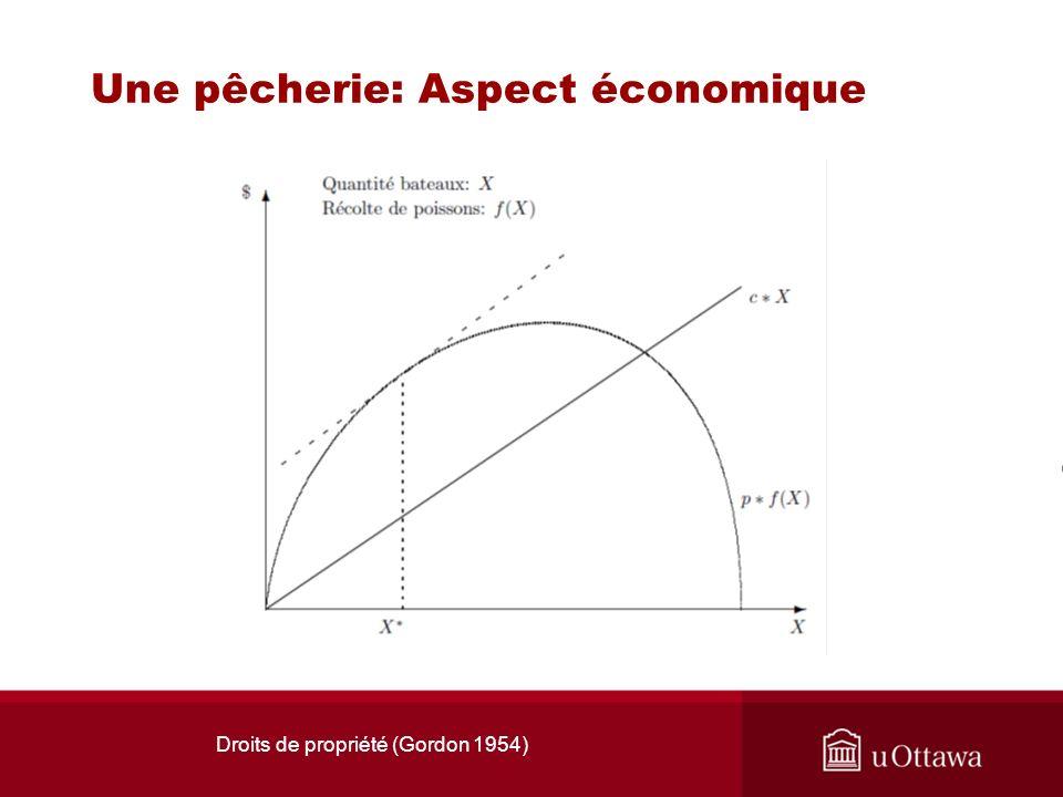 Droits de propriété (Gordon 1954) Une pêcherie: Aspect économique