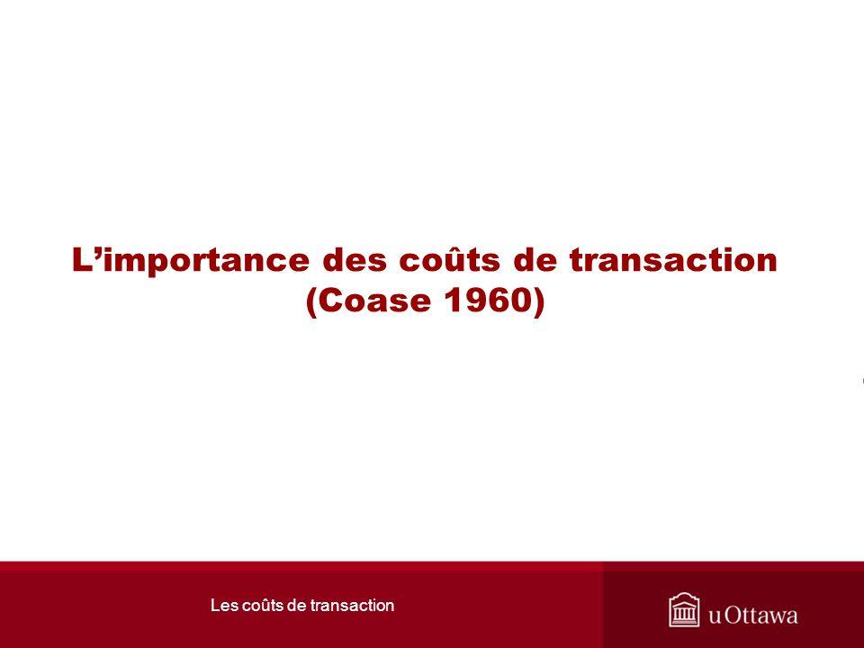 Les coûts de transaction Coase le méchant: Son fameux théorème En absence de coût de transaction, les gens vont sentendre entre eux.
