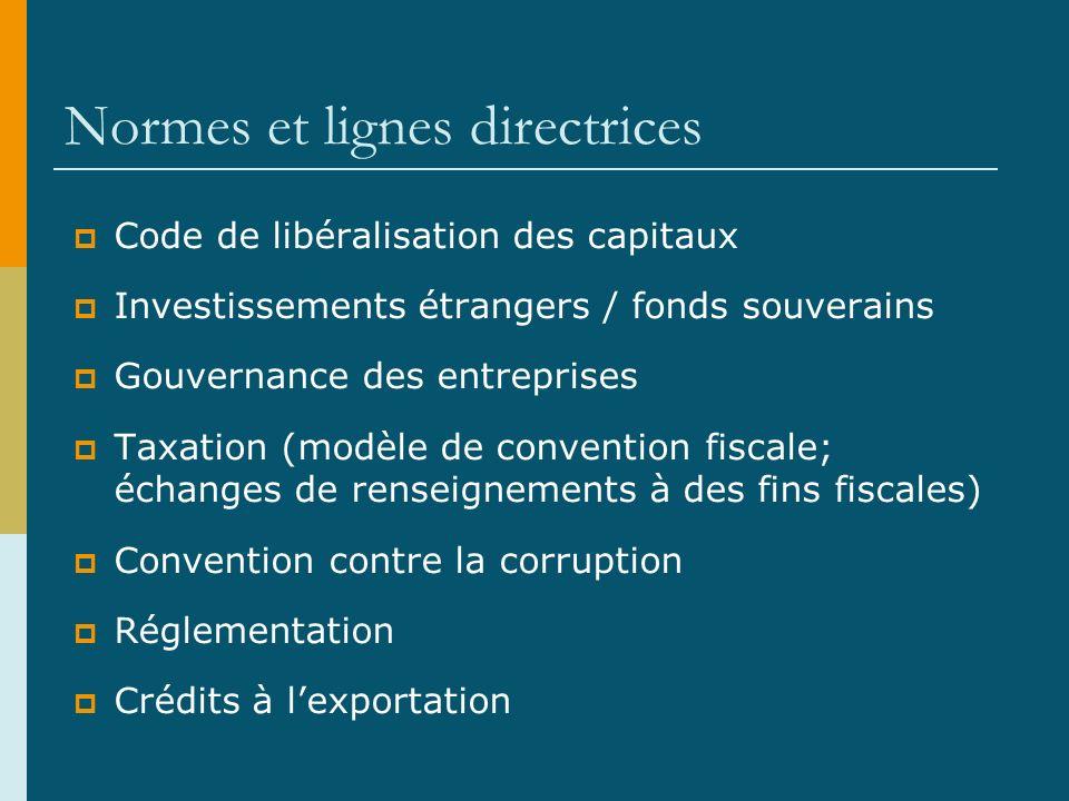 Normes et lignes directrices Code de libéralisation des capitaux Investissements étrangers / fonds souverains Gouvernance des entreprises Taxation (modèle de convention fiscale; échanges de renseignements à des fins fiscales) Convention contre la corruption Réglementation Crédits à lexportation