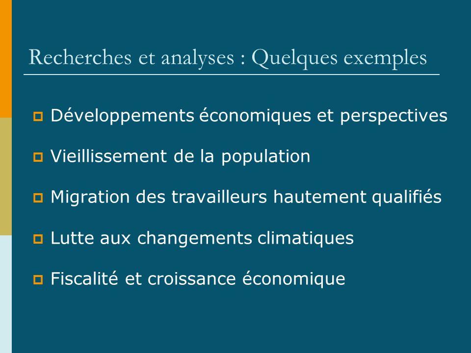 Recherches et analyses : Quelques exemples Développements économiques et perspectives Vieillissement de la population Migration des travailleurs hautement qualifiés Lutte aux changements climatiques Fiscalité et croissance économique