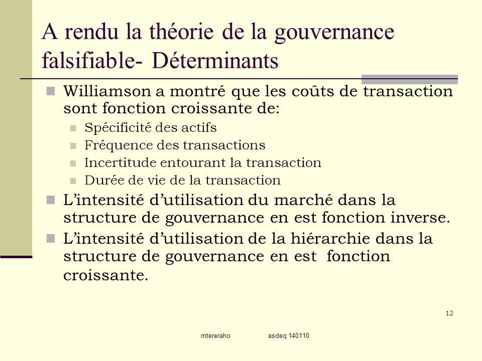 mtereraho asdeq 140110 A rendu la théorie de la gouvernance falsifiable- Déterminants Williamson a montré que les coûts de transaction sont fonction c
