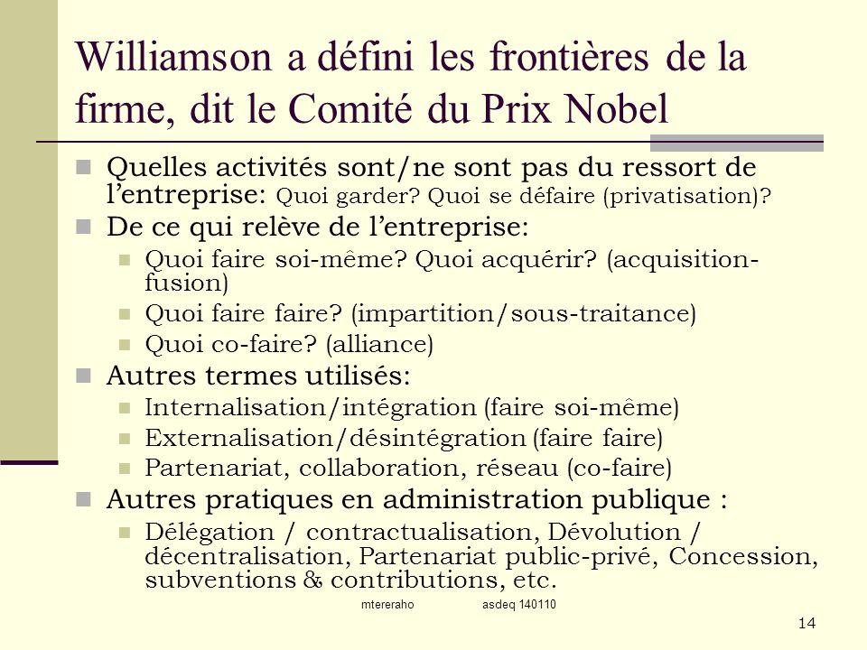 mtereraho asdeq 140110 14 Williamson a défini les frontières de la firme, dit le Comité du Prix Nobel Quelles activités sont/ne sont pas du ressort de