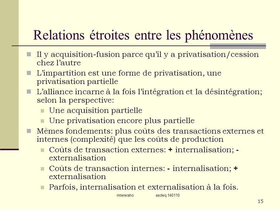 mtereraho asdeq 140110 15 Relations étroites entre les phénomènes Il y acquisition-fusion parce quil y a privatisation/cession chez lautre Limpartitio