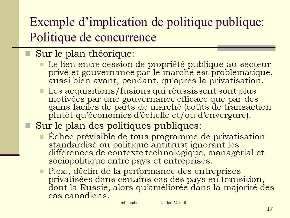mtereraho asdeq 140110 17 Exemple dimplication de politique publique: Politique de concurrence Sur le plan théorique: Le lien entre cession de proprié